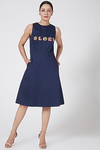 Midnight Blue Embroidered Dress by Three Piece Company
