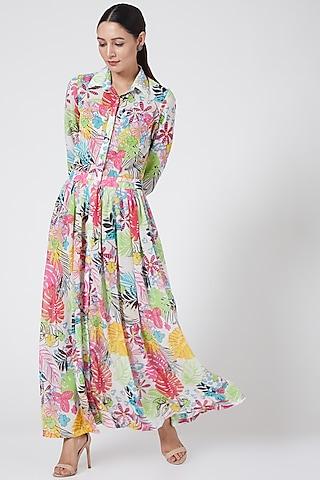 Multi Colored Maxi Shirt Dress by Three Piece Company