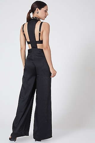 Black Backless Jumpsuit by Three Piece Company