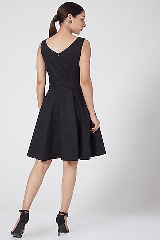 Black Cotton Satin Dress by Three Piece Company