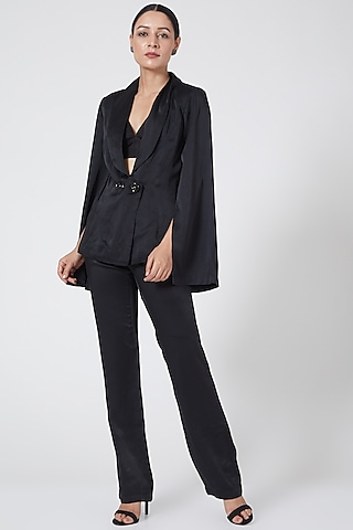 Black  Straight Fit Trouser by Three Piece Company