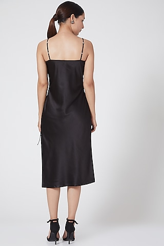 Black Satin Slip Dress by Three Piece Company