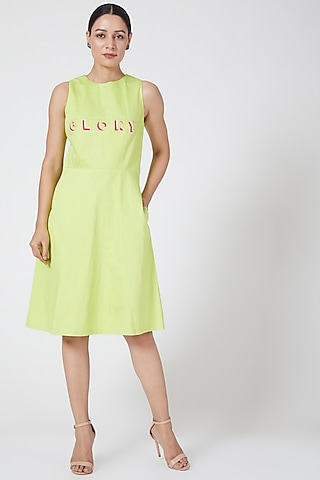 Acid Green Embroidered Dress by Three Piece Company