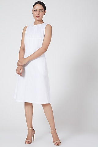 White A-Line Dress by Three Piece Company