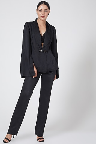 Black Cotton Satin Jacket by Three Piece Company