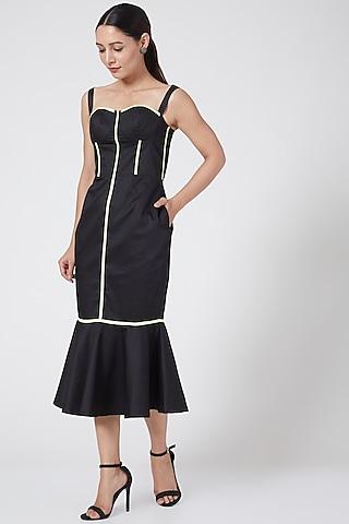 Black Corset Strap Dress by Three Piece Company