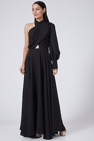 Black One Shoulder Maxi Dress by Three Piece Company