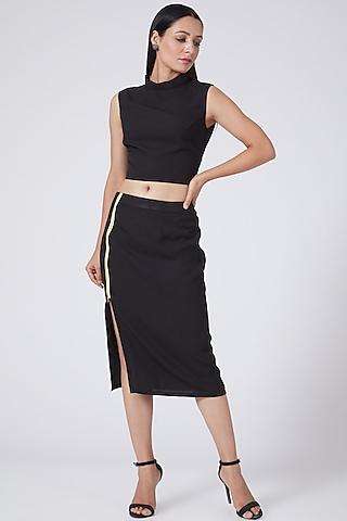 Black Sleeveless Crop Top by Three Piece Company