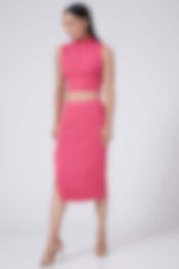 Pink Tie-Up Crop Top by Three Piece Company