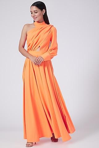 Orange One Shoulder Dress by Three Piece Company