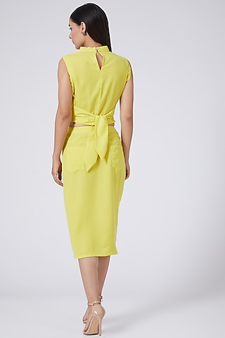 Yellow Pencil Skirt With Slit by Three Piece Company