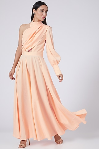 Peach One Shoulder Dress by Three Piece Company
