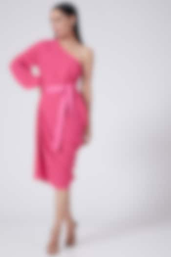 Pink One Shoulder Dress With Tie-Up by Three Piece Company