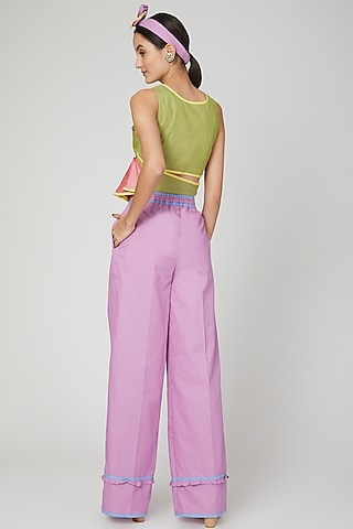 Moss Green & Rose Pink Crop Top by Three Piece Company