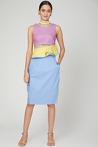 Sky Blue & Yellow Color Blocked Pencil Skirt by Three Piece Company