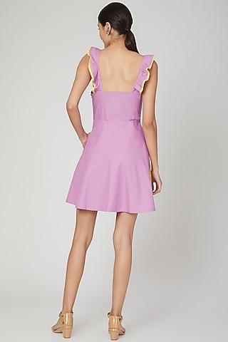 Lilac Mini Dress With Ruffled Straps by Three Piece Company