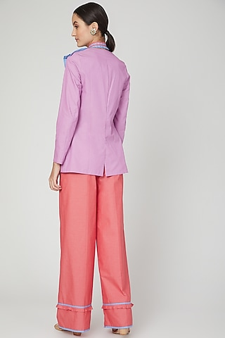 Rose Pink Mid Waist Flared Pants by Three Piece Company