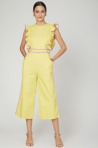 Yellow Jumpsuit With Ruffled Detailing by Three Piece Company