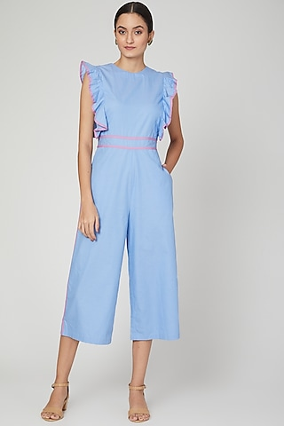 Sky Blue Jumpsuit With Ruffled Detailing by Three Piece Company