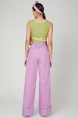Lilac Mid Waist Flared Pants by Three Piece Company