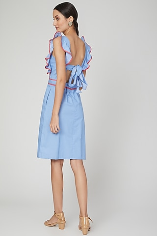 Sky Blue Backless Dress With Ruffled Tie-Up by Three Piece Company