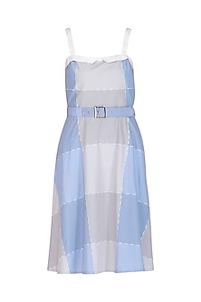 Lavender Blue & Grey Embroidered Dress With Belt by Three Piece Company