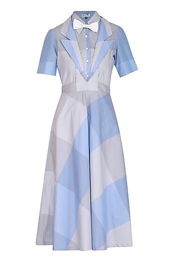 Lavender Blue & Grey Checkered Dress by Three Piece Company