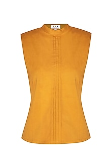 Ochre Band Collared Top by Three Piece Company