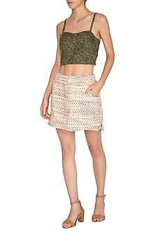Cream Handloom Mini Skirt by Three Piece Company