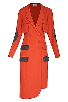 Burnt Orange Double Breasted Blazer Dress by Three Piece Company