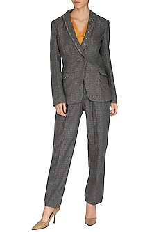 Slate Grey Shawl Collared Blazer by Three Piece Company