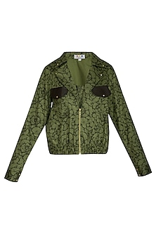 Olive Green Printed Bomber Jacket by Three Piece Company
