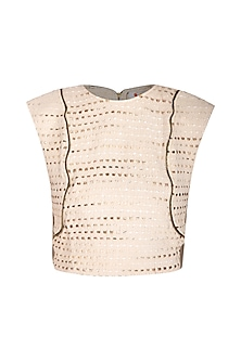 Cream Handloom Cotton Top by Three Piece Company
