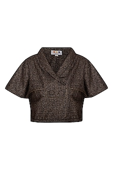 Brown Shawl Collared Top by Three Piece Company