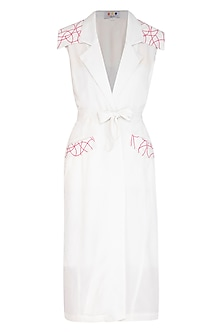 White Embroidered Trench Coat by Three Piece Company