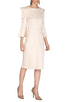 Ecru Dress With Sharp Shoulders by Three Piece Company