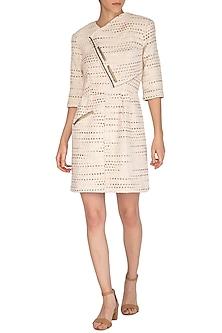 Cream Overlap Handloom Dress by Three Piece Company