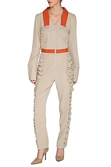 Ash Grey Gathered Jumpsuit by Three Piece Company
