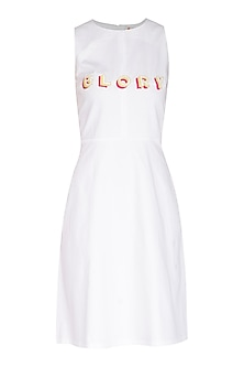 White Embroidered Dress by Three Piece Company