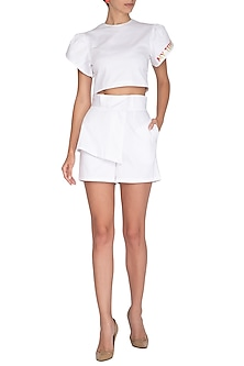 White Embroidered Crop Top by Three Piece Company