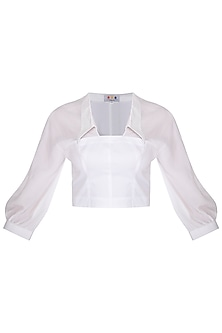 White Corset Panelled Top by Three Piece Company