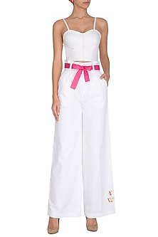 White Embroidered Pants With Tie-up Belt by Three Piece Company