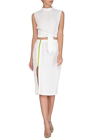 White Mid-Waist Skirt by Three Piece Company