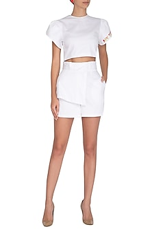 White Embroidered Shorts by Three Piece Company