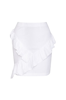 White Mid-Waist Cotton Skirt by Three Piece Company