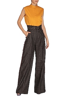 Brown Flared Pants by Three Piece Company