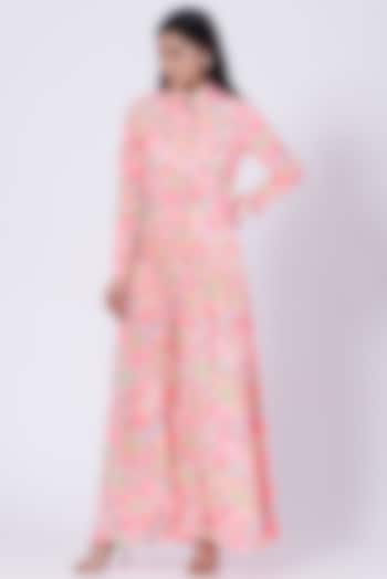 Pink Poly Crepe Floral Shirt Dress by Three Piece Company