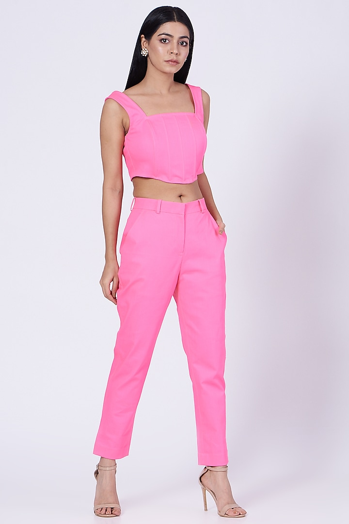 Pink Cotton Twill Lycra Corset Crop Top by Three Piece Company