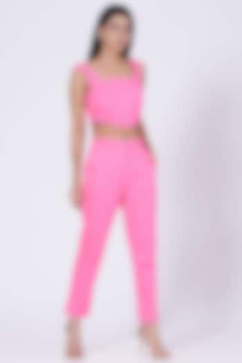 Pink Cotton Twill Lycra Pants by Three Piece Company