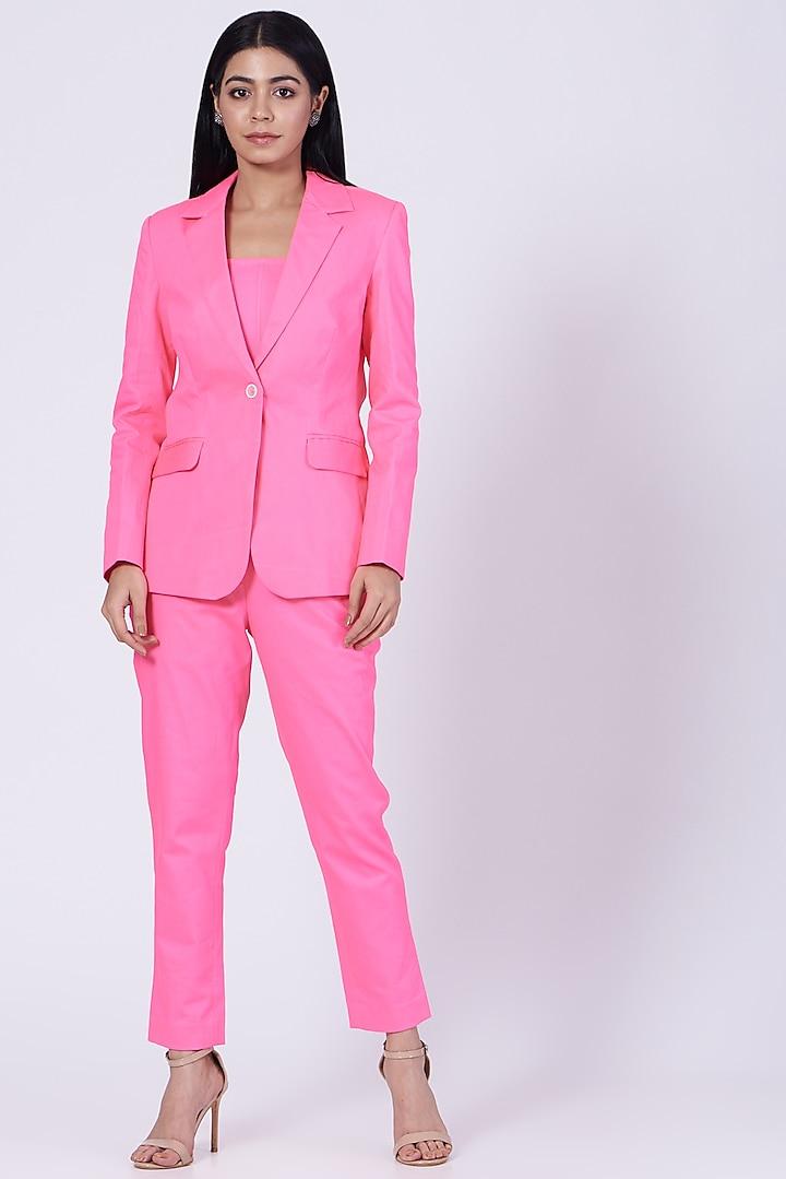 Pink Cotton Twill Lycra Blazer by Three Piece Company